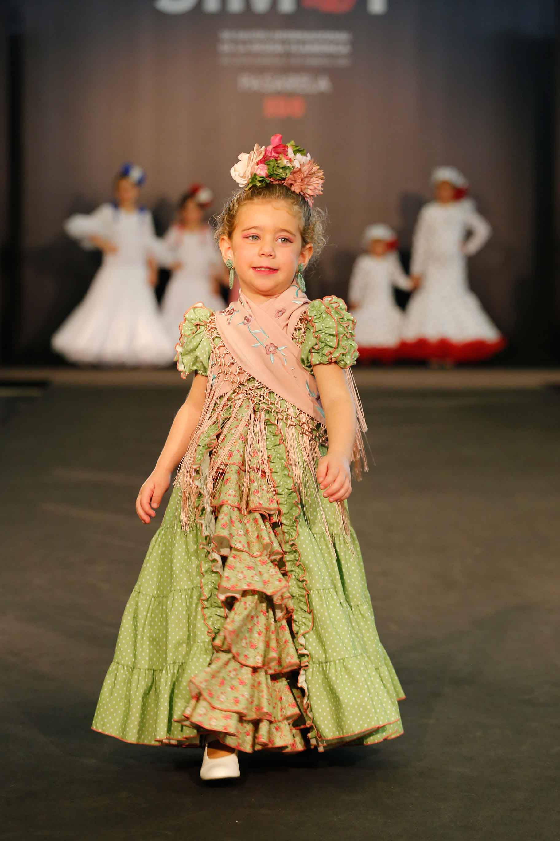 Vestido flamenca niña canastero verde